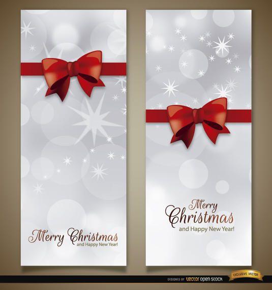 2 Christmas vertical ribbon bow bookmarks