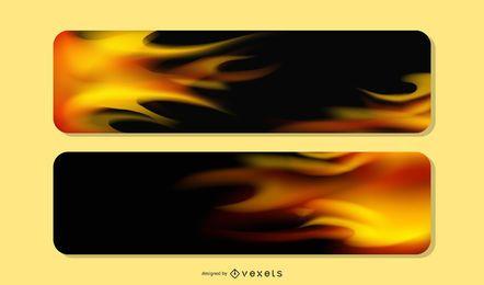 3 lindos banners de fogo realistas