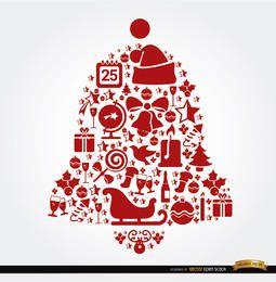 Elementos navideños en forma de campana
