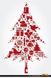 Elementos de Natal em forma de árvore