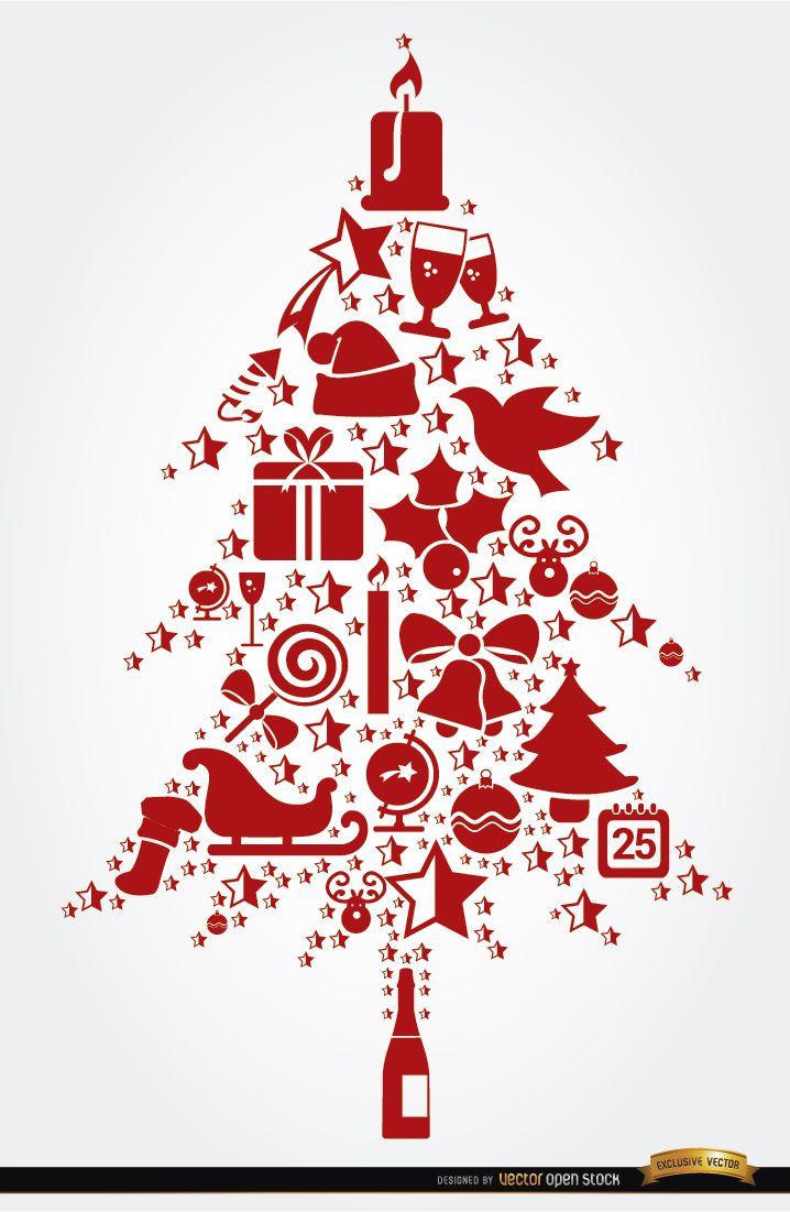 Elementos navideños en forma de árbol