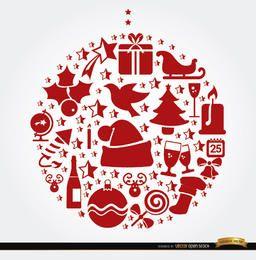 Símbolos de Navidad colgando forma de bola