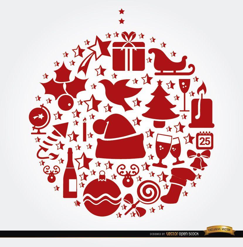 Christmas symbols hanging ball shape