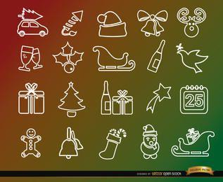 20 ícones de linha de férias de Natal