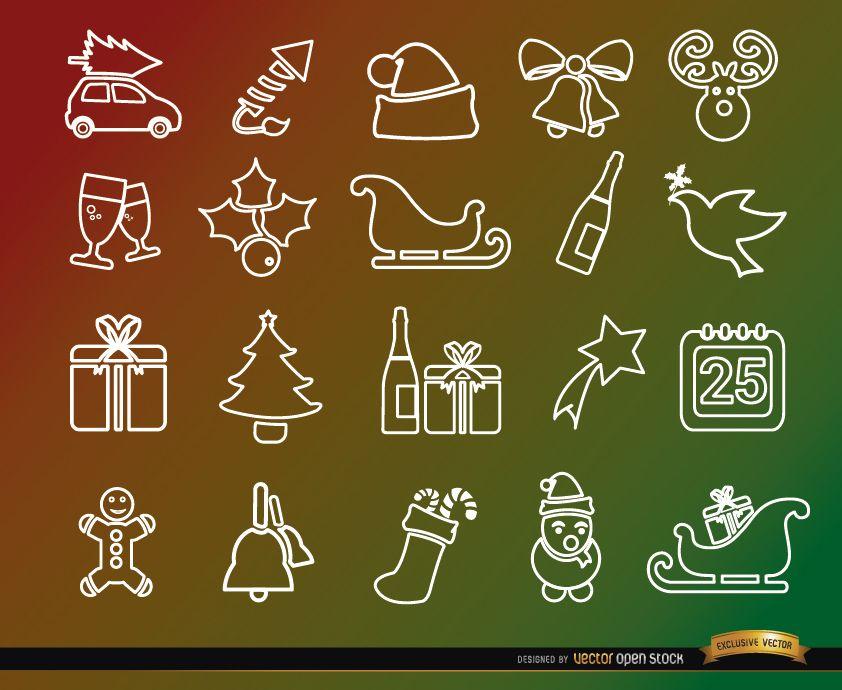 20 iconos de línea de vacaciones de Navidad