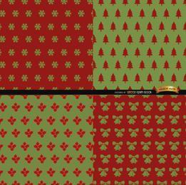 4 rote grüne Weihnachtsmuster
