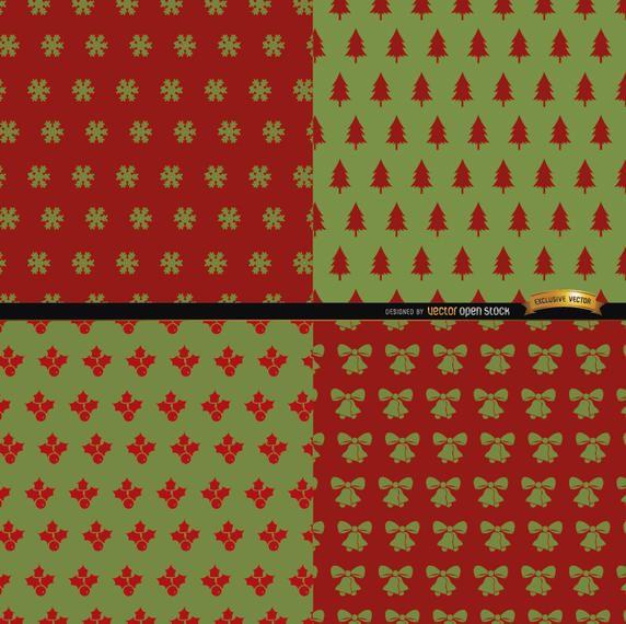 4 padrões de Natal verde vermelho