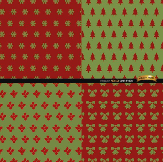 4 Red green Christmas patterns