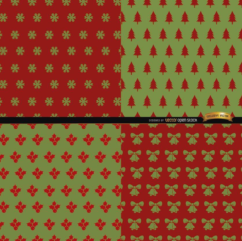 4 patrones de Navidad rojo verde