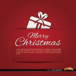 Tarjeta de regalo roja feliz navidad