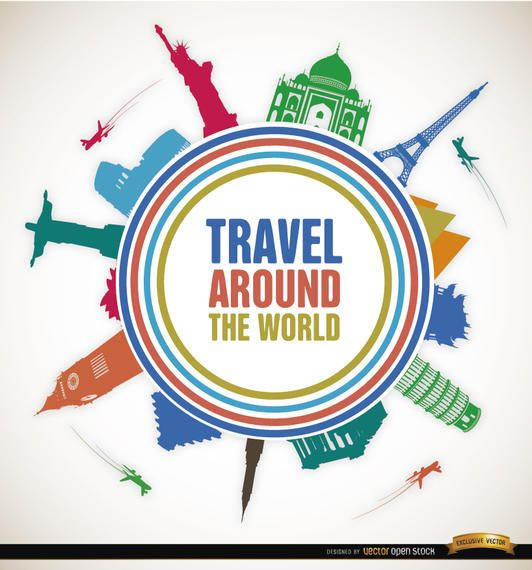 Travel world landmarks promo