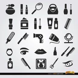 Ícones de cosméticos de objetos de mulheres de beleza