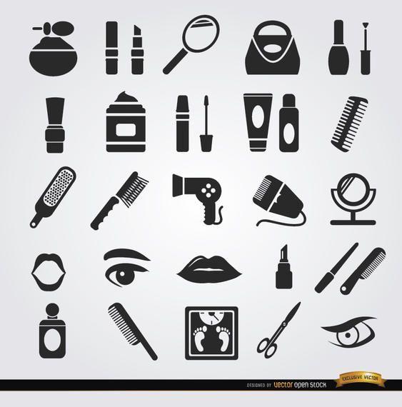 Beleza mulheres objetos cosméticos ícones