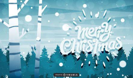 Tarjeta de felicitación enrrollada de Navidad del paisaje