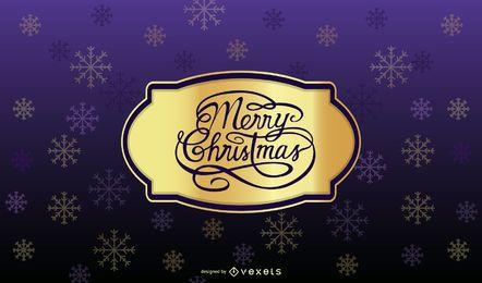 Tarjeta de Navidad púrpura con insignia de oro