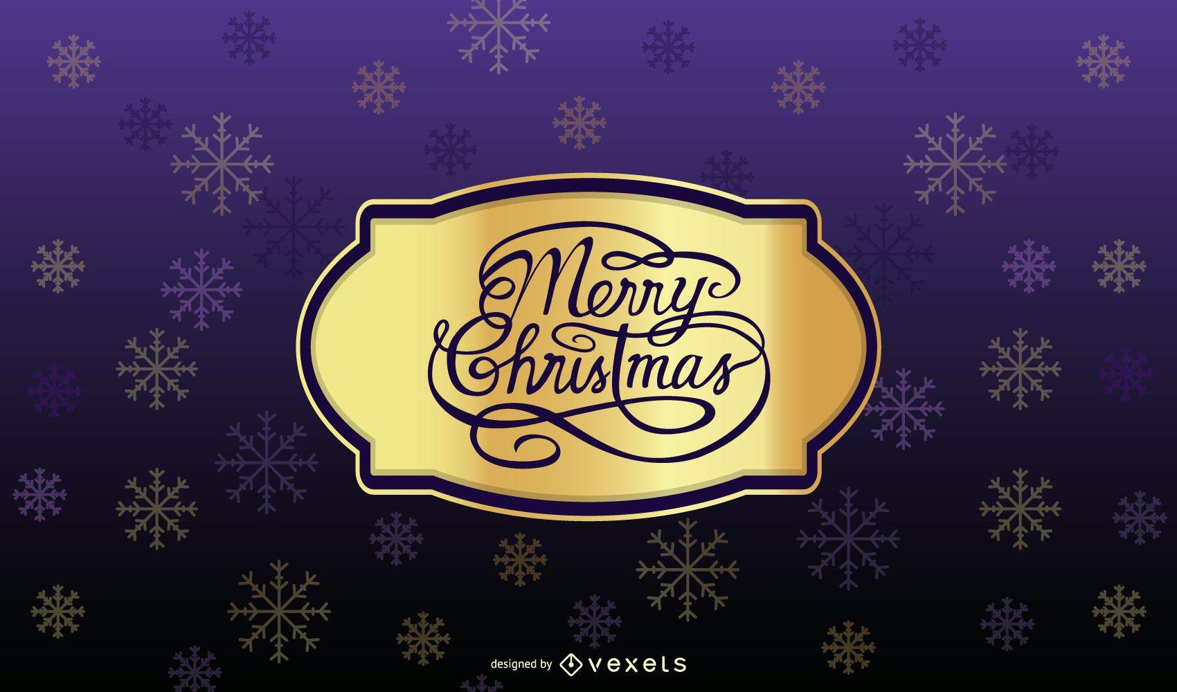 Tarjeta de Navidad morada con insignia dorada
