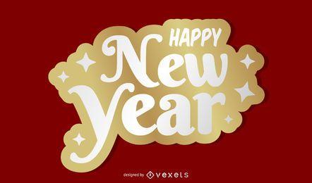 Fondo de año nuevo de la etiqueta engomada de oro 2015
