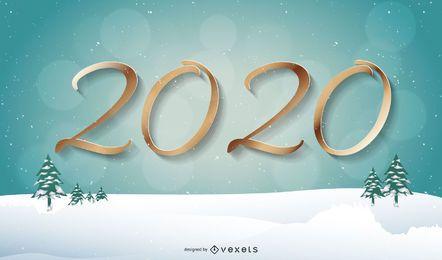 Rotulação de 2020 dourado com fundo de neve