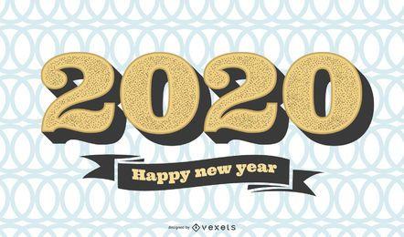 Saudação de ano novo Vintage padrão Circular 2020