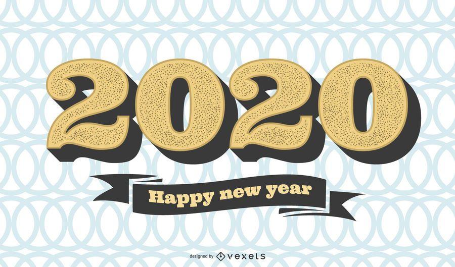 Patrón circular 2020 saludo de año nuevo vintage