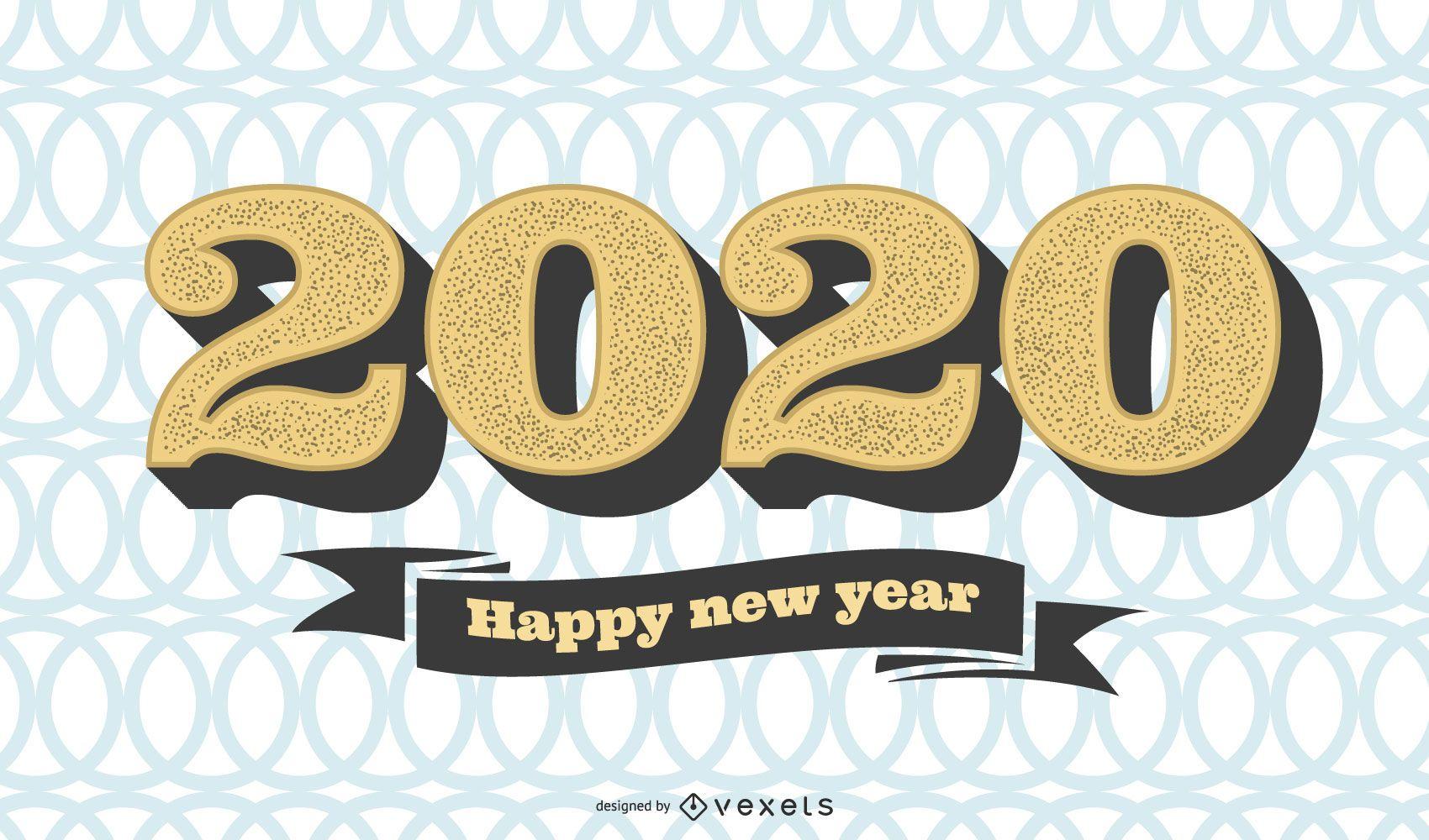 Circular Pattern 2020 Vintage New Year Greeting