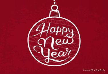 Tipografia de ano novo dentro de Bauble Xmas