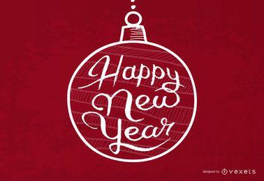 Tipografía de año nuevo dentro de adorno de Navidad