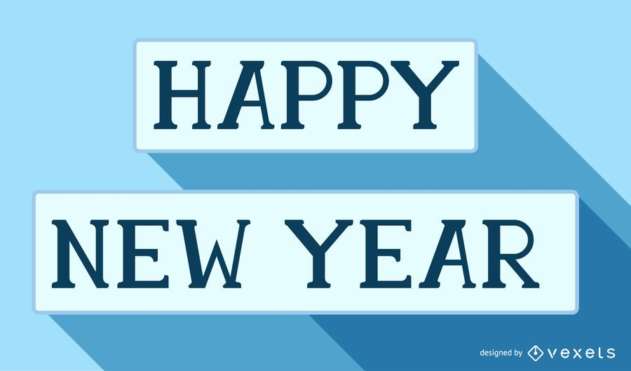 New Year Greetings inside Long Shadowed Rectangles