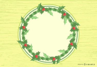 Tarjeta de Navidad con flores y ramas