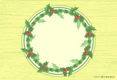 Weihnachtskarte mit Blumen & Zweigen