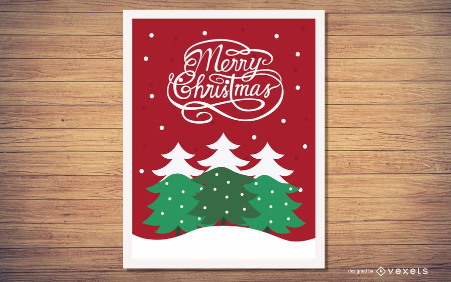 Xmas Greeting Card with Tree Planted on Snowflakes