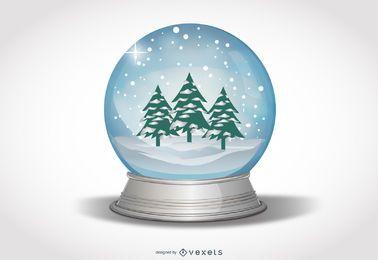 Globo de nieve con árboles de Navidad y paisaje nevado
