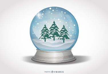 Snow Globe with Xmas Trees & Snowy Landscape