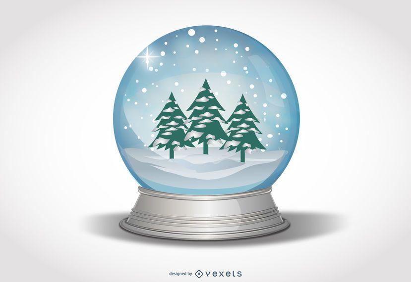 Globo de neve com árvores de Natal e paisagem de neve