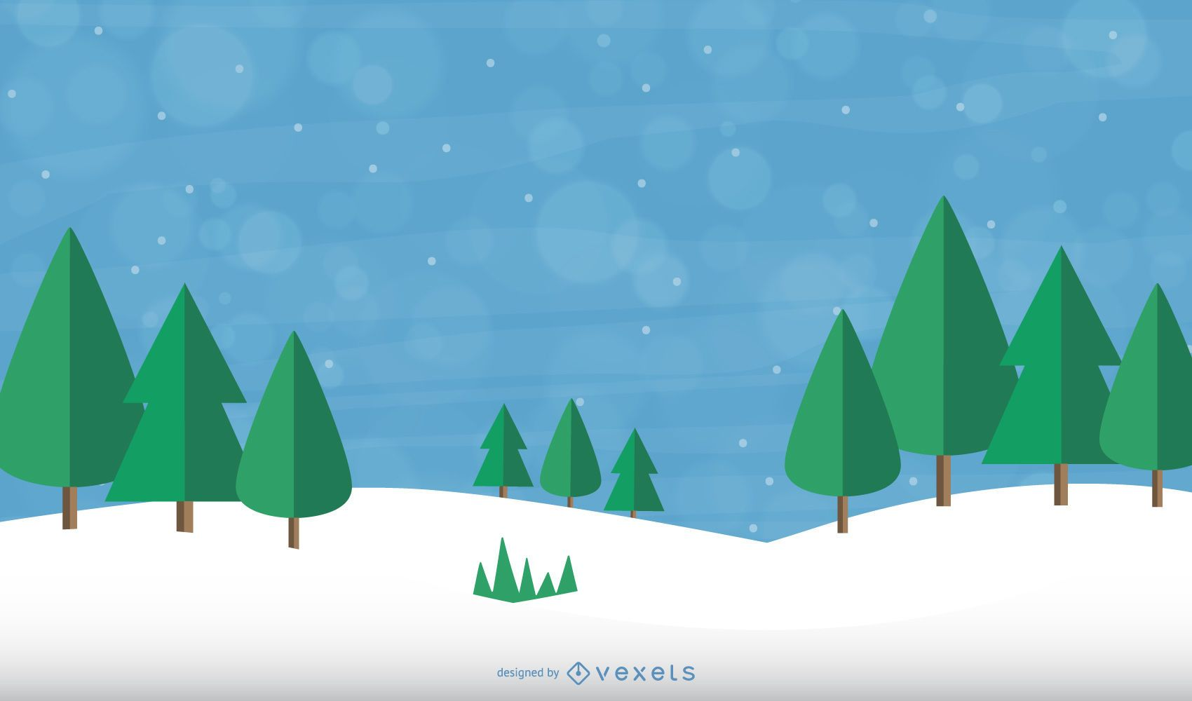 Abstract Xmas Trees on Snowflakes Background