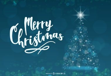 Árvore de Natal criativa azul brilhante abstrata
