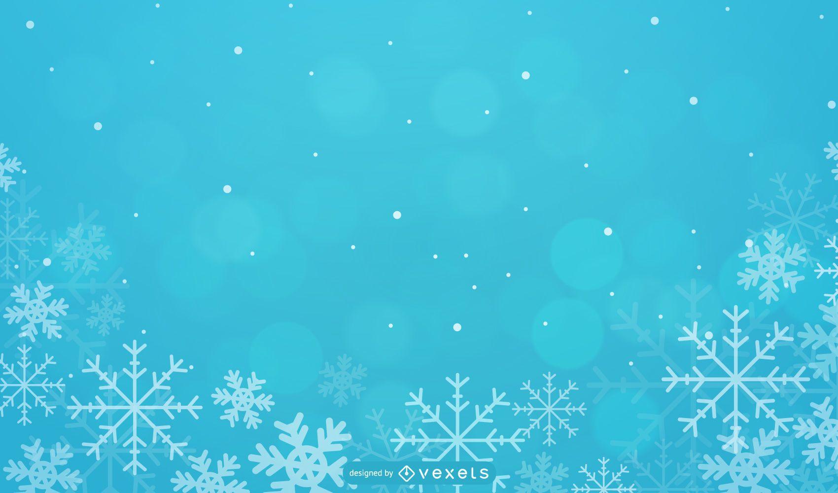 Fondo de Navidad estacional con copos de nieve