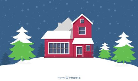 Cabaña nevada con árboles de Navidad y copos de nieve