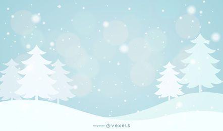 Árboles nevados y fondo de copos de nieve
