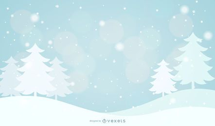 Snowy Abstract Xmas Tree & Snowflakes Background