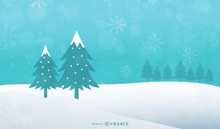Árbol de Navidad abstracto sobre fondo de paisaje nevado