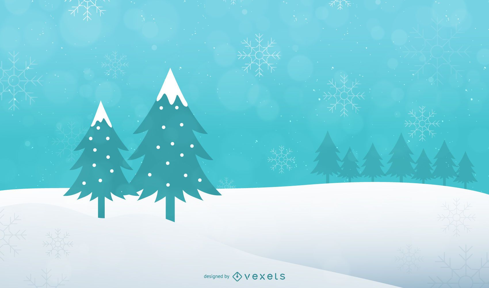 Abstract Xmas Tree on Snowy Landscape Background