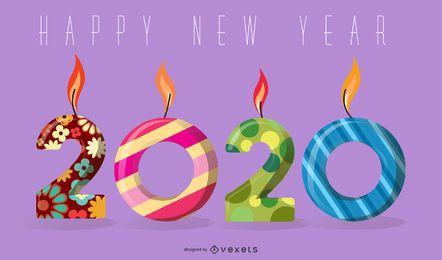 Diseño de saludo de luces de velas de año nuevo 2020