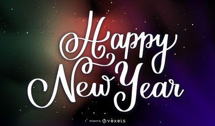 Impresionantes letras de año nuevo 2020 en el espacio