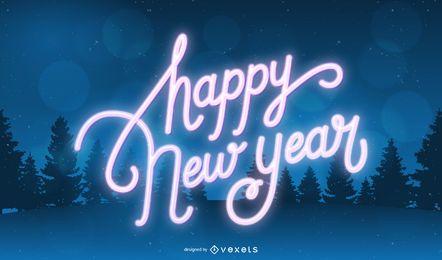Fondo de año nuevo de tipografía de neón 2020