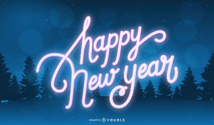 Neon 2020 Typografie Neujahr Hintergrund
