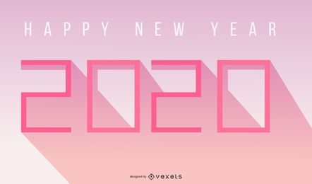 Flat Paper Cut New Year 2015 Long Shadowed Typography