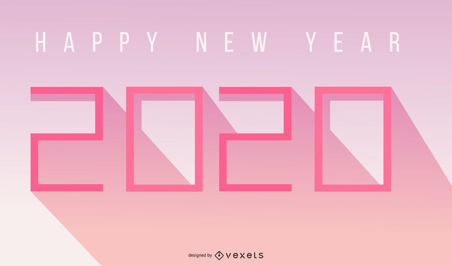 2020 simple happy new year lettering