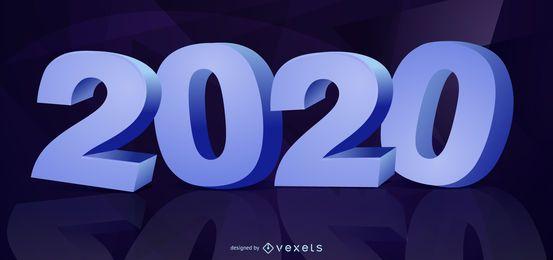 3D Neujahr 2020 Typografie