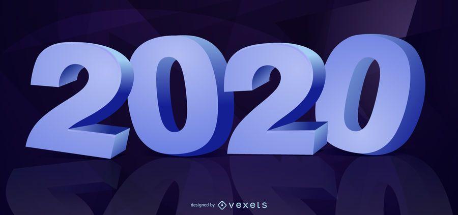 Tipografía 3D Año Nuevo 2020